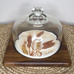 Vintage Goodwood Teak Glass Dome Wheat Cheese Tray